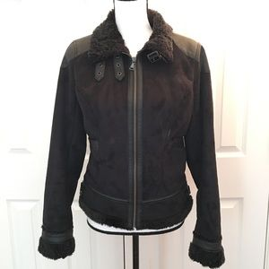 Express shearling suede moto black leather jacket